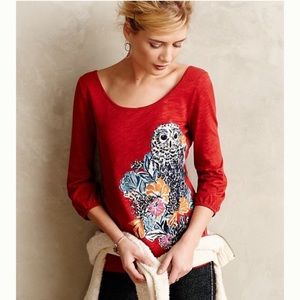 Anthro Postmark Top Forest Fete Owl Tee Red Shirt